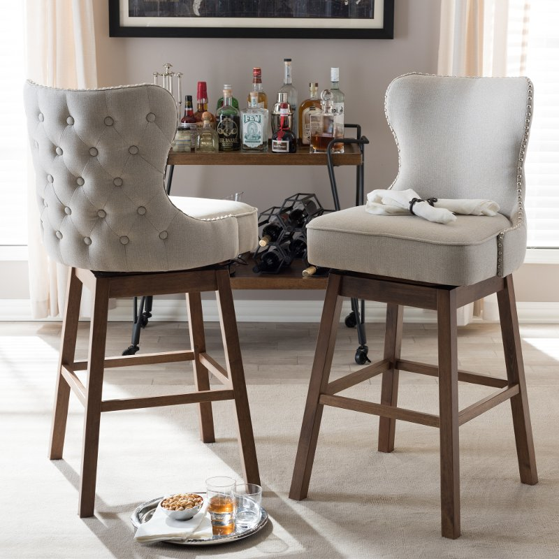 Taupe Button Tufted Upholstered Swivel Bar Stool Pair