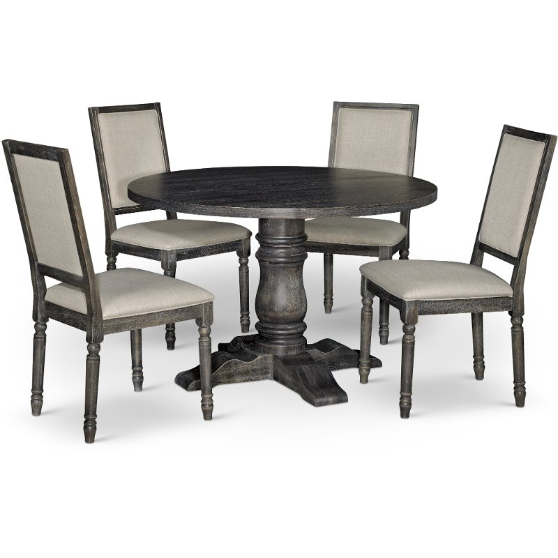 Dove Gray 5 Piece Dining Set With Round Table Muses Rc