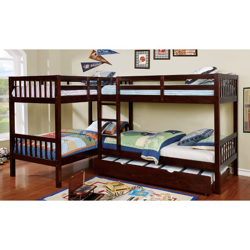 Dark Walnut Double Twin Over Twin Bunk Bed With Trundle