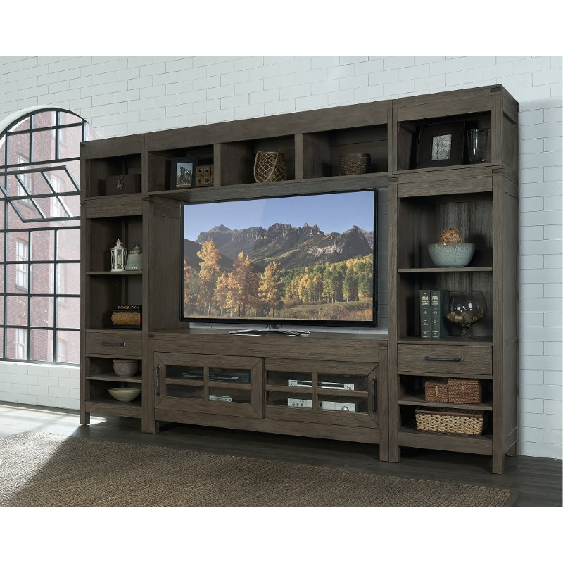 Charcoal Brown 4 Piece Modern Entertainment Center   St. Croix | RC Willey  Furniture Store