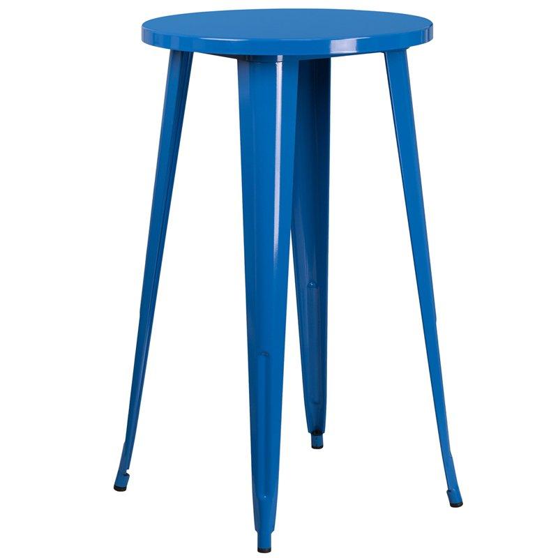 Cool Blue Metal Cafe Round Indoor Outdoor Bar Table Inzonedesignstudio Interior Chair Design Inzonedesignstudiocom