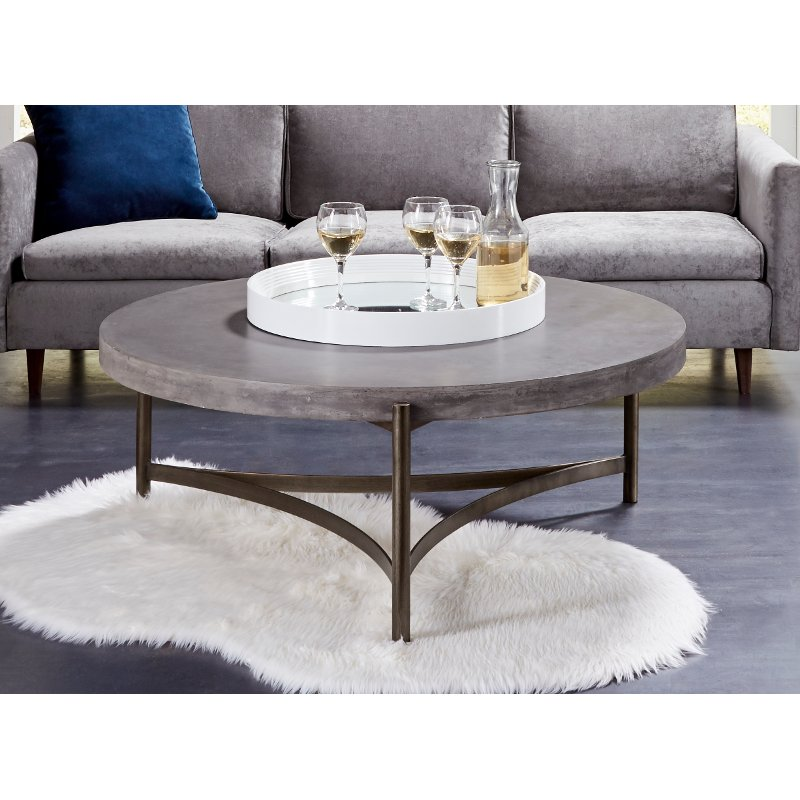 Contemporary Concrete Coffee Table Magnum RC Willey Furniture Store - Oval concrete coffee table