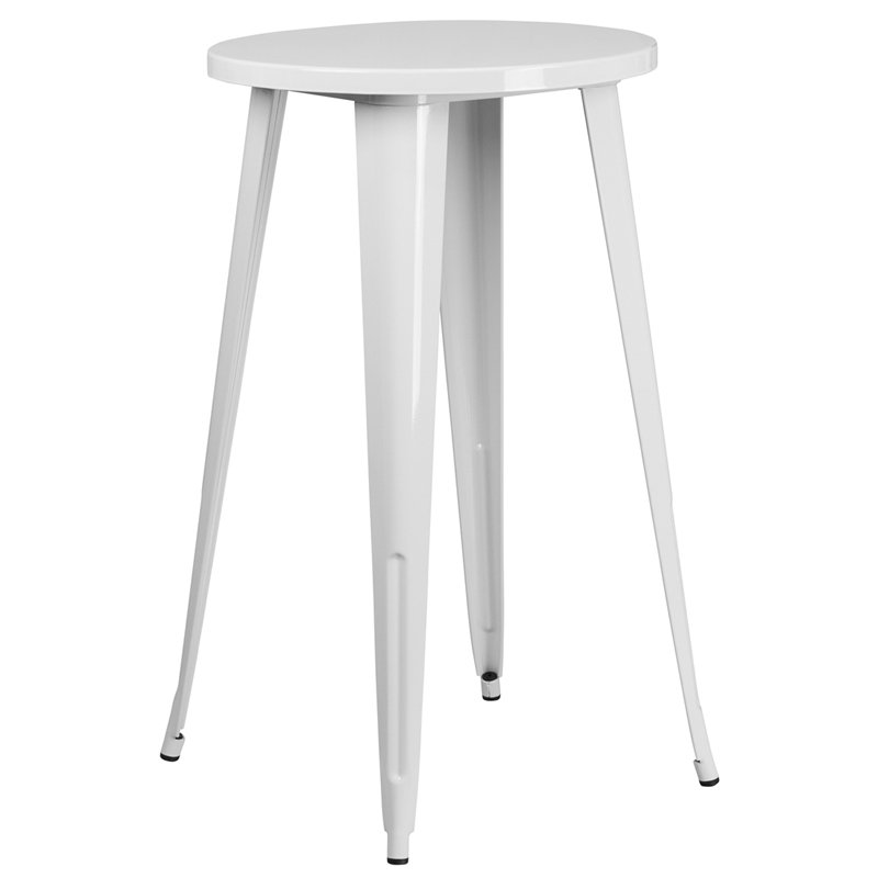 White Metal Cafe Round Indoor Outdoor Bar Table