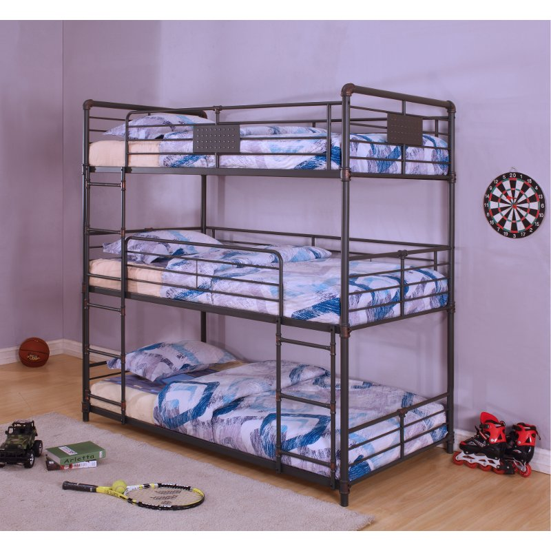 Black Metal Casual Triple Twin Bunk Bed Alexander