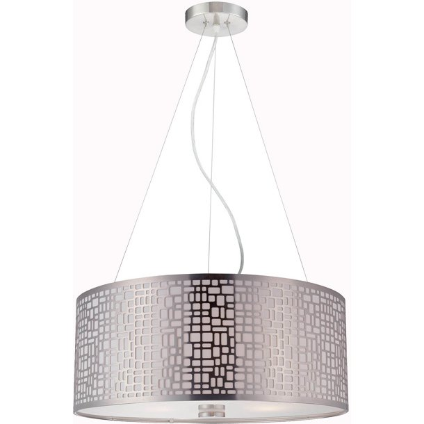 Polished Steel Modern Drum Pendant Lighting   Torre   RC Willey Furniture  Store