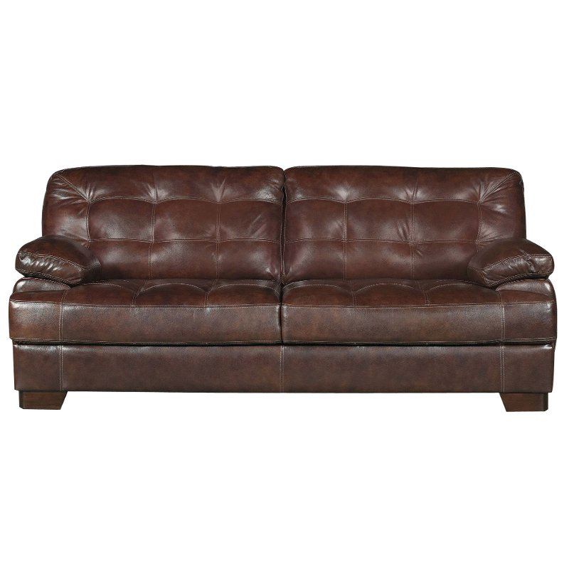 Furniture Store Contemporary: Contemporary Walnut Brown Leather Sofa - Amarillo