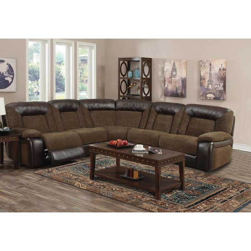 save off a56ad 80ea7 Brown 5 Piece Power Reclining Sectional Sofa - Helen