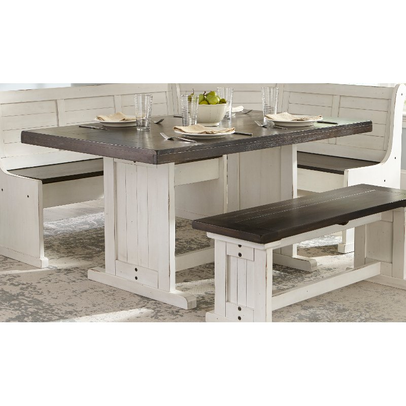 Two Tone French County Trestle Dining Table Bourbon