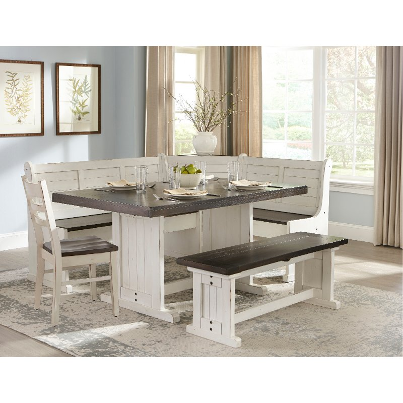 Country Kitchen Table Sets: Two-Tone French Country 5 Piece Corner Dining Nook