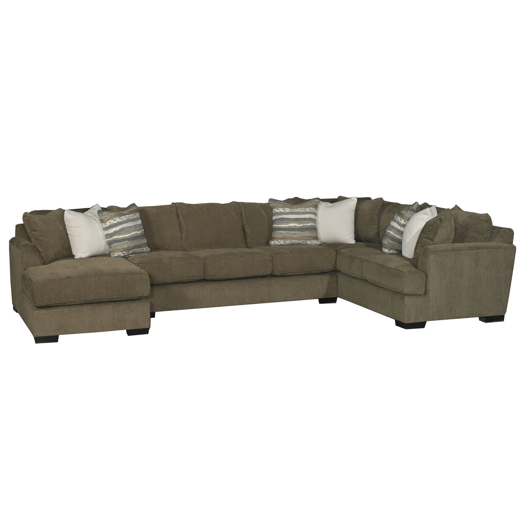 Brown 3 Piece Sectional Sofa with LAF Chaise - Tranquility