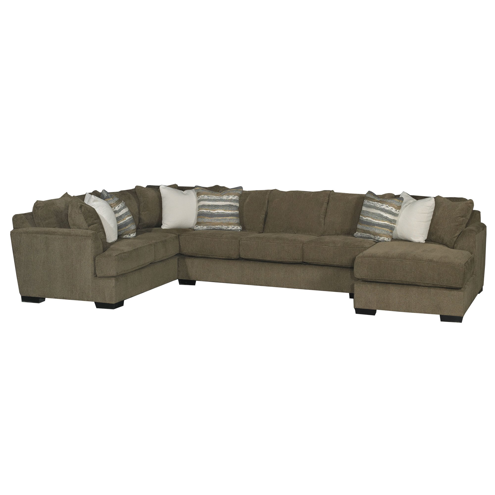 Chocolate Brown 3 Piece Sectional Sofa with RAF Chaise - Tranquility