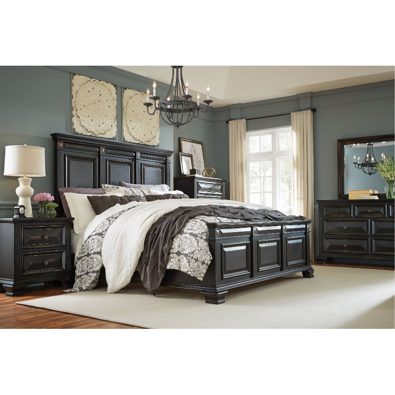 Bedroom Furniture Sets Online: Black Traditional 6 Piece Queen Bedroom Set