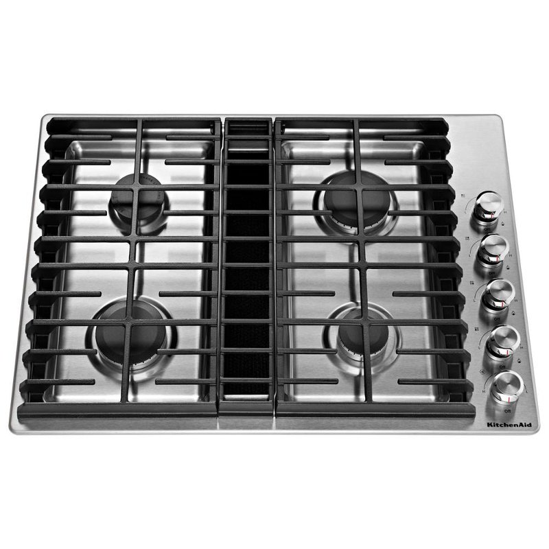 Admirable Kitchenaid 30 Inch 4 Burner Gas Cooktop Stainless Steel Home Interior And Landscaping Analalmasignezvosmurscom
