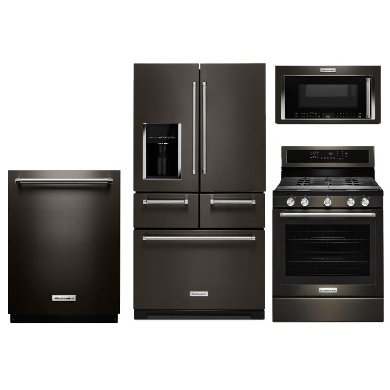 Charmant KitchenAid 4 Piece Kitchen Appliance Package With Gas Range And 5 Door  Refrigerator   Black Stainless Steel | RC Willey Furniture Store