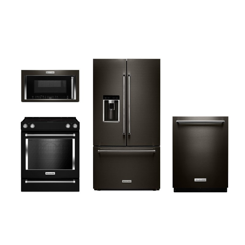 Kitchenaid 4 Piece Kitchen Appliance Packages With Electric Range Black Stainless Steel