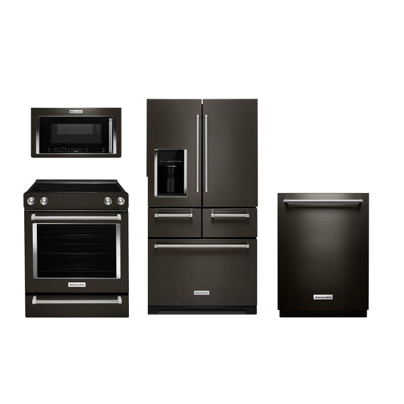 KitchenAid 4 Piece Kitchen Electric Appliance Package   Black Stainless  Steel | RC Willey Furniture Store