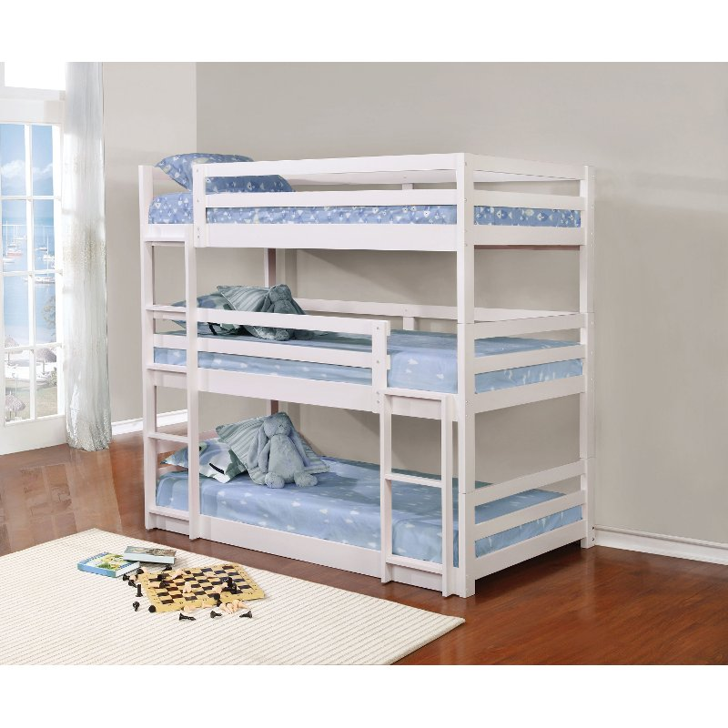 White Contemporary Triple Bunk Bed Milan Rc Willey Furniture Store