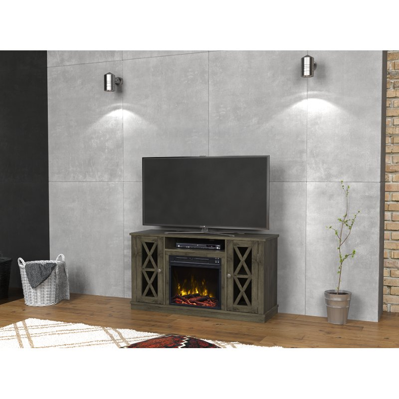 Modern Gray Tv Stand With Fireplace 48 Inch Bayport Rc Willey