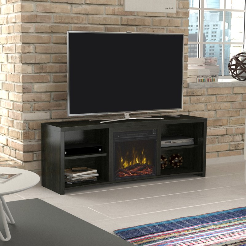 Black Walnut Tv Stand With Fireplace 60 Inch Shelter Cove Rc