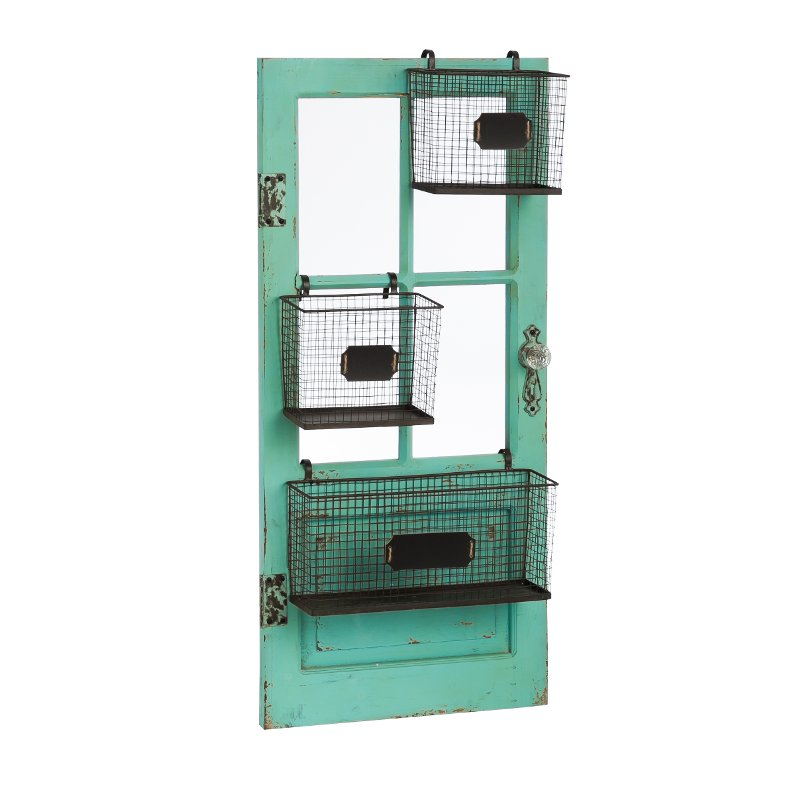 Distressed Teal Vertical Wooden Door Frame with Metal Storage Baskets  sc 1 st  RC Willey & Distressed Teal Vertical Wooden Door Frame with Metal Storage ...