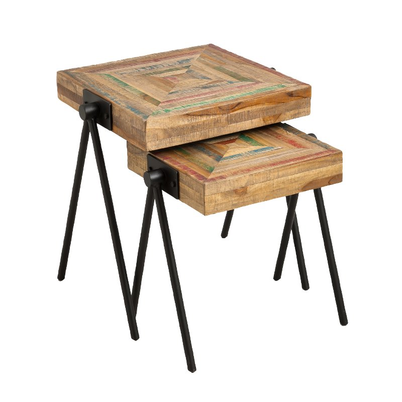 Recycled Teak Nested Side Tables   Set Of 2
