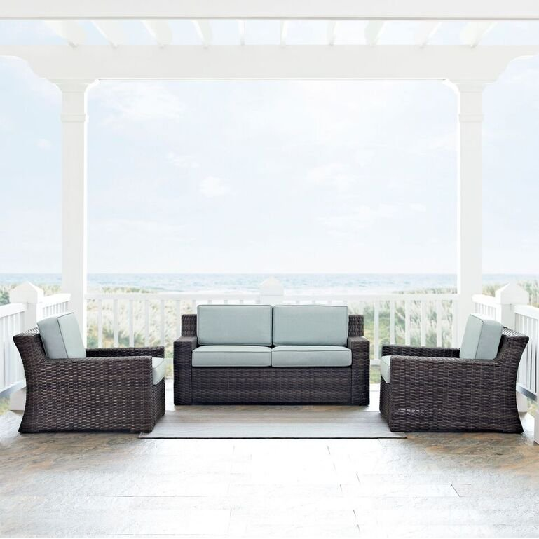 Mist And Brown Wicker Patio Furniture 3 Piece Set   Beaufort | RC Willey  Furniture Store