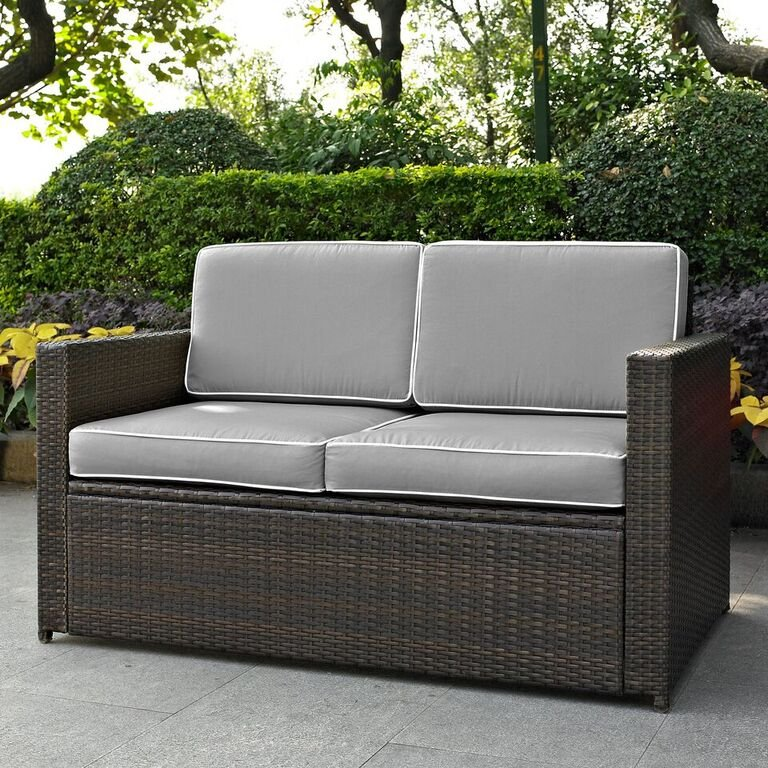 Gray And Brown Wicker Patio Furniture Loveseat   Palm Harbor   RC Willey  Furniture Store