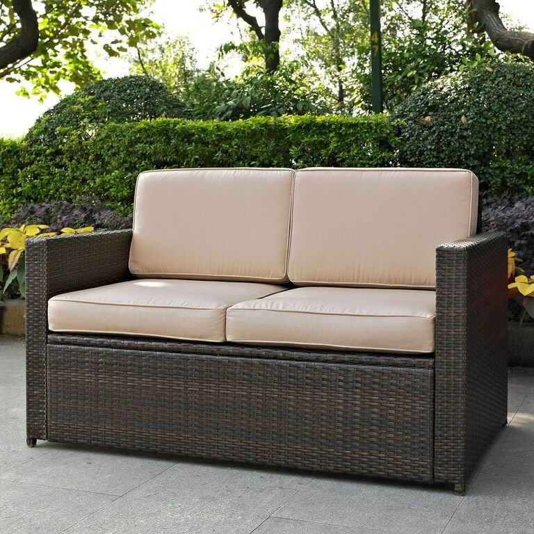 Genial Sand And Brown Wicker Patio Furniture Loveseat   Palm Harbor | RC Willey  Furniture Store