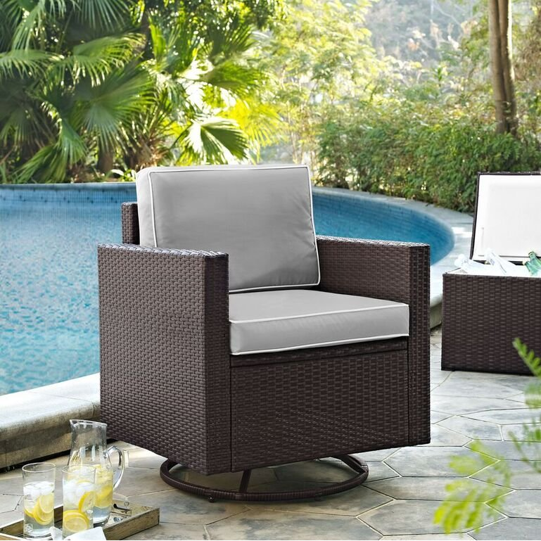 Gray And Brown Wicker Patio Swivel Rocker Chair   Palm Harbor | RC Willey  Furniture Store