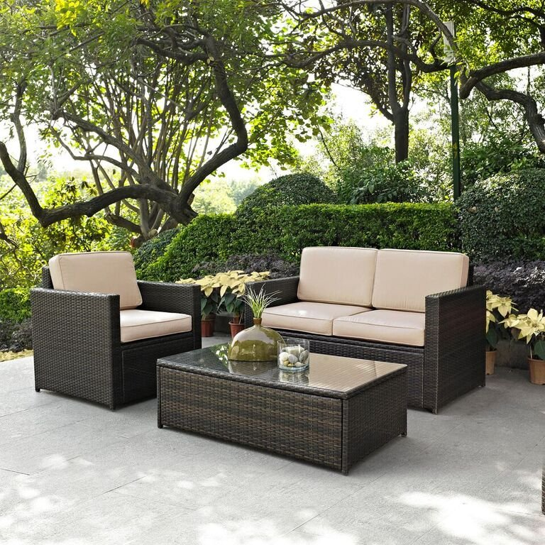 KO70006BR SA Sand And Brown 3 Piece Wicker Patio Furniture Set   Palm Harbor