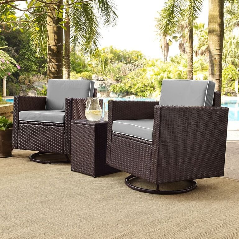 Gray And Dark Brown 3 Piece Wicker Furniture Set Palm Harbor Rc Willey