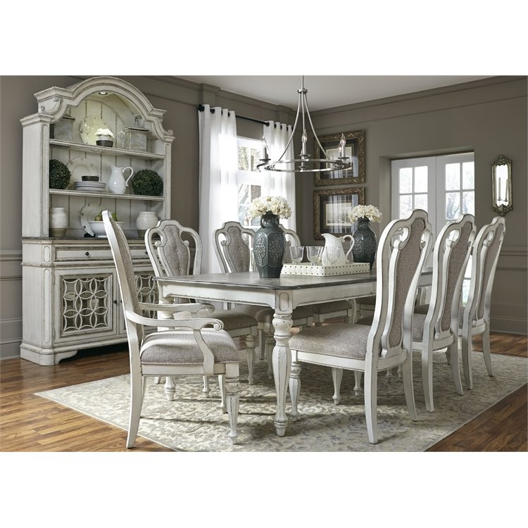 Antique White 5 Piece Dining Set With Upholstered Chairs