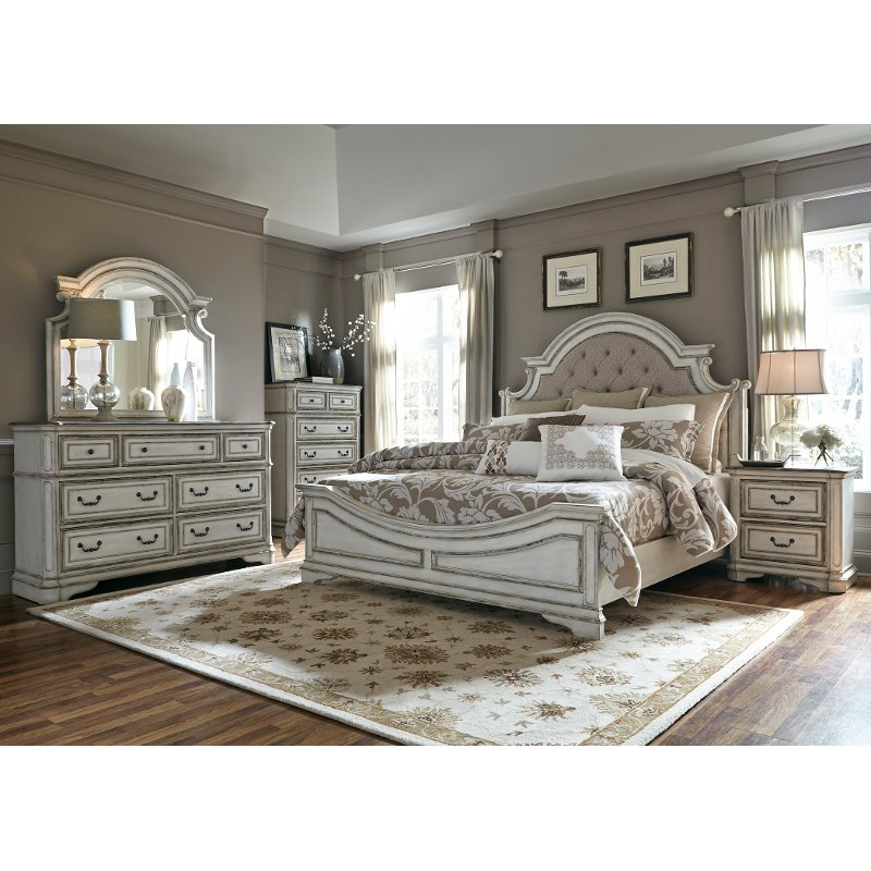 Antique White Traditional 4 Piece Queen Bedroom Set - Magnolia