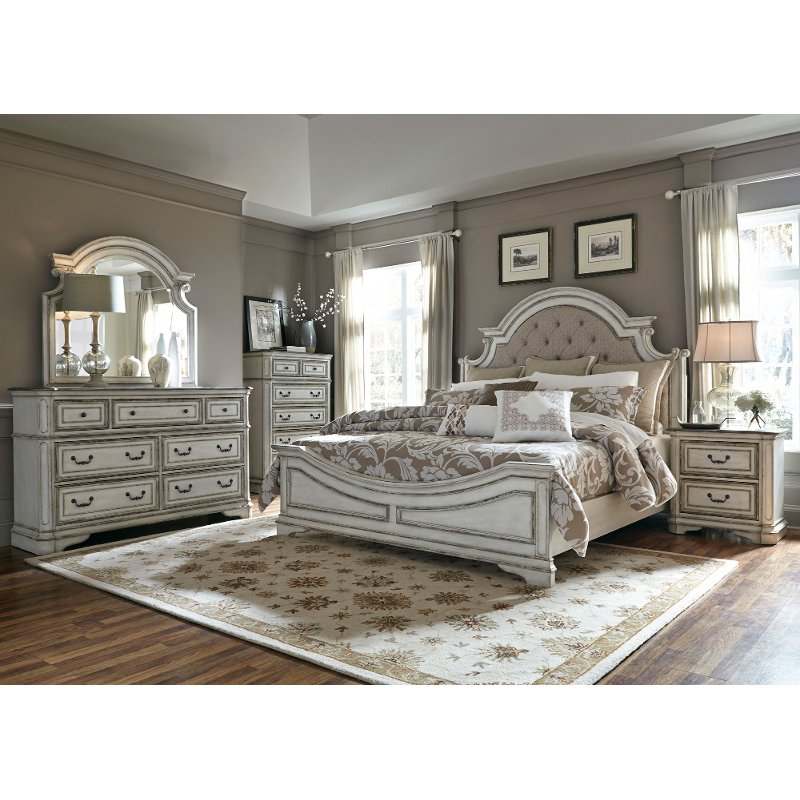 Beautiful Antique White Traditional 6 Piece King Bedroom Set   Magnolia Manor