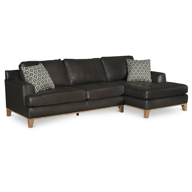 Brown Leather 2 Piece Sectional Sofa With Raf Chaise