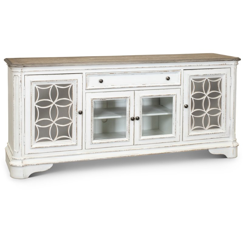 74 Inch Antique White Tv Stand Magnolia Manor