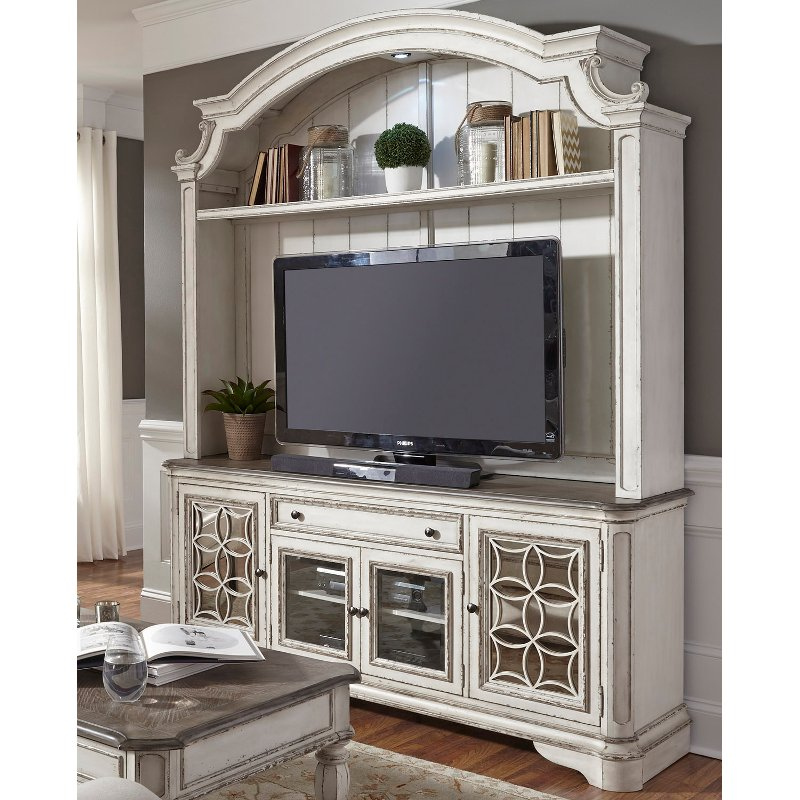Rc Willey Truck: Distressed White 2 Piece Antique Entertainment Center