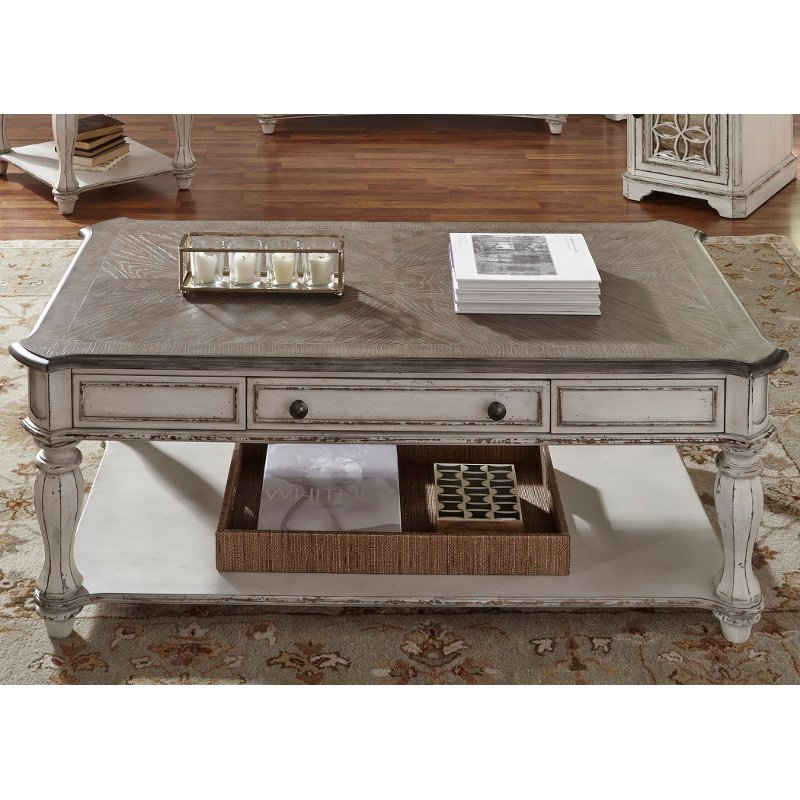 antique white coffee table magnolia manor - Antique Wood Coffee Tables