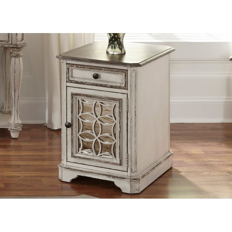 High Quality Antique White Chair Side Table   Magnolia Manor