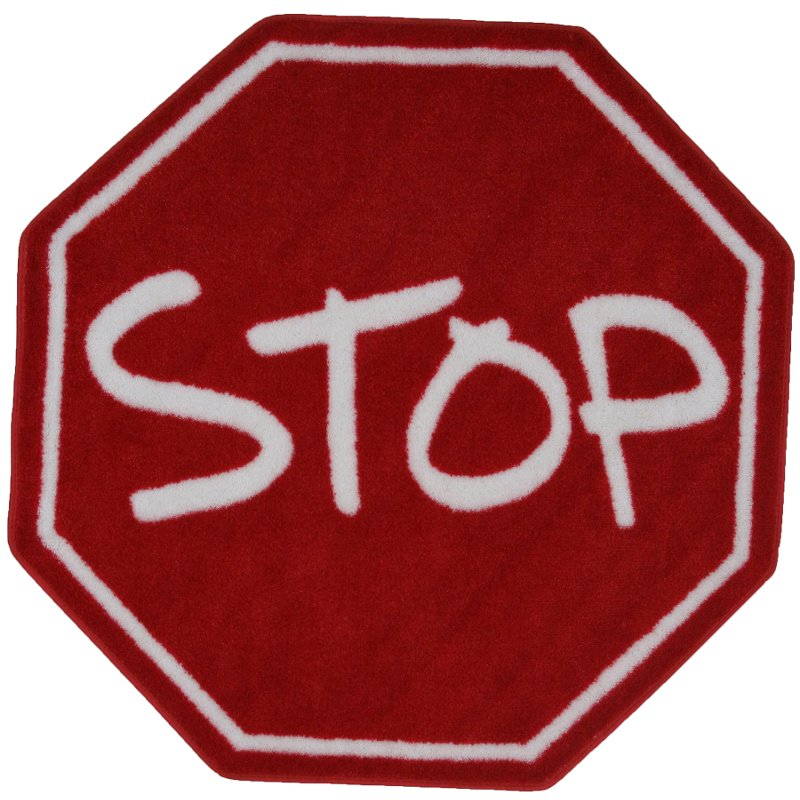39 Inch Hexagon Stop Sign Red Area Rug