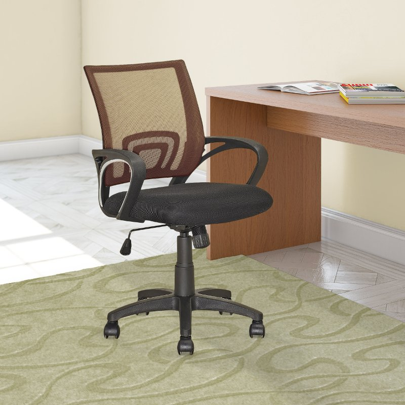 Light Brown And Black Mesh Office Chair Worke