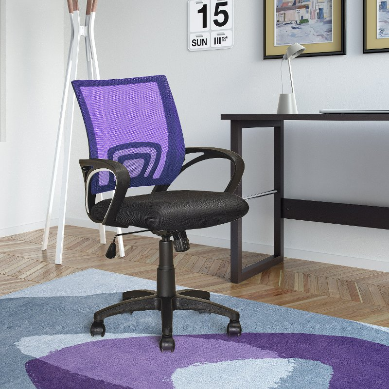 Black And Purple Mesh Office Chair Worke