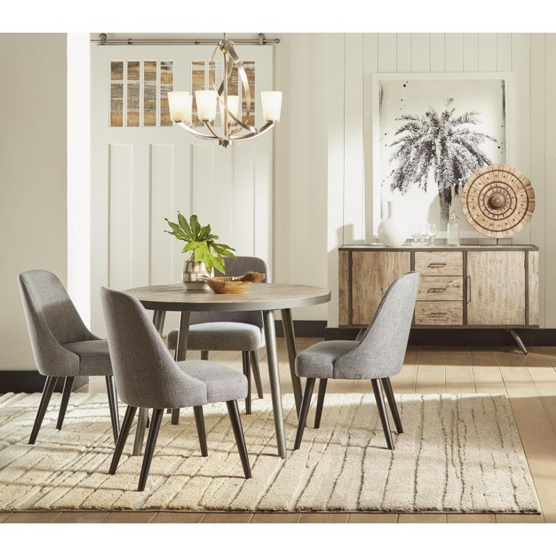American Furniture Warehouse Mail: Gray 5 Piece Round Dining Set