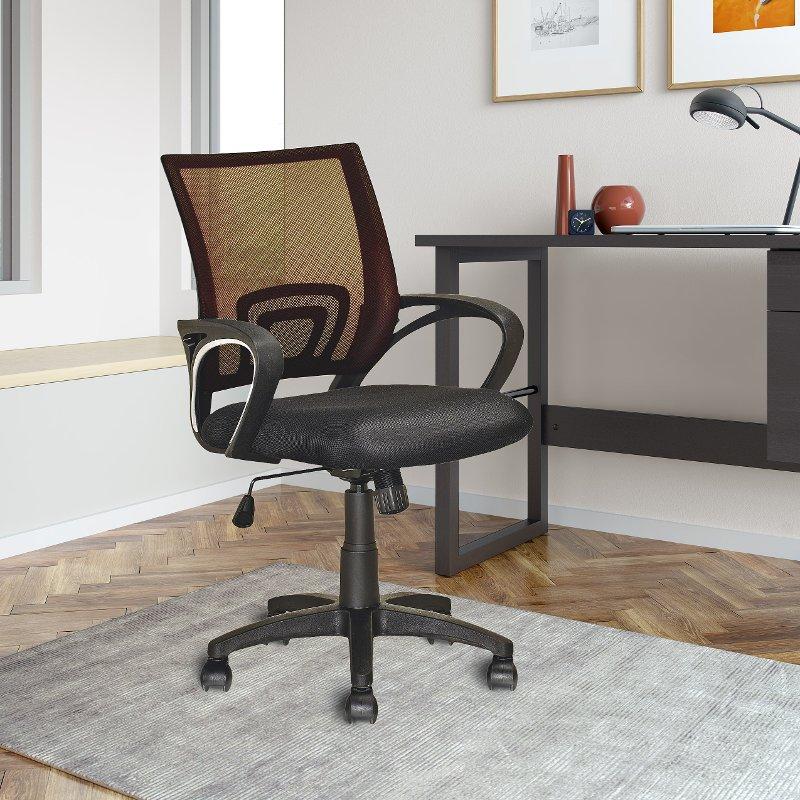Dark Brown And Black Mesh Office Chair Worke