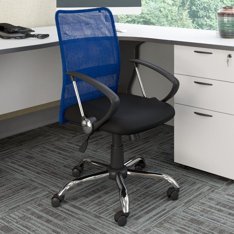 Astonishing Blue And Black Mesh Office Chair Workspace Ibusinesslaw Wood Chair Design Ideas Ibusinesslaworg