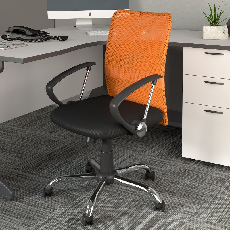 Orange And Black Mesh Office Chair Worke