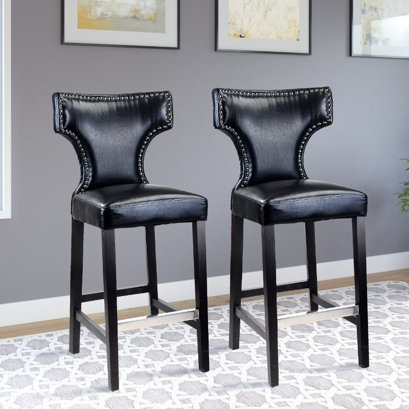 Groovy Black Bonded Leather Bar Stool Set Of 2 Kings Pabps2019 Chair Design Images Pabps2019Com