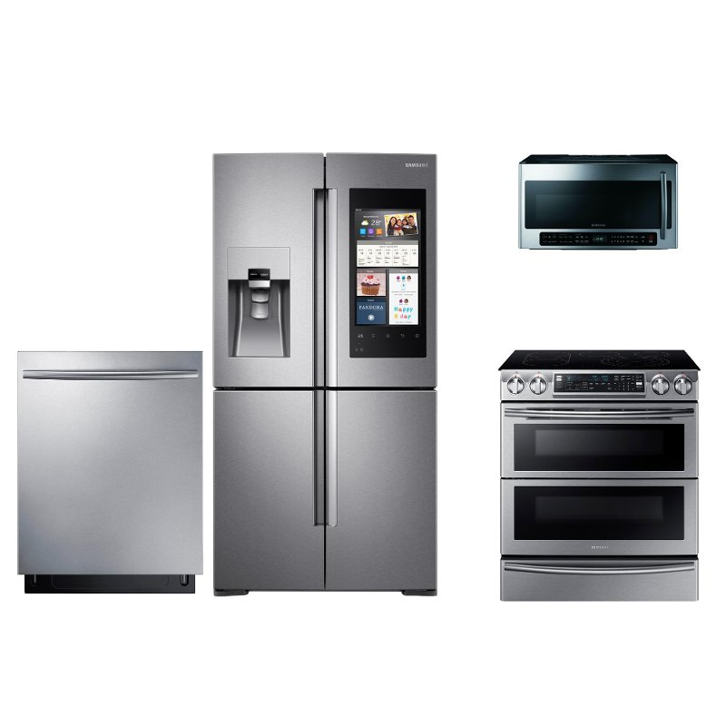 Samsung 4 Piece Electric Kitchen Appliance Package with French Door Smart  Refrigerator - Stainless Steel