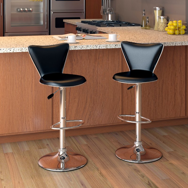 Tall Curved Back Adjustable Bar Stool Set Of 2 Rc