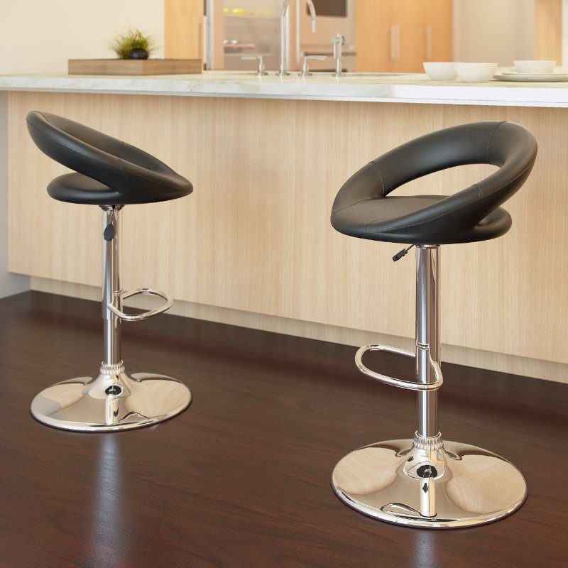 Round Open Back Adjustable Bar Stool Set Of 2 Rc Willey